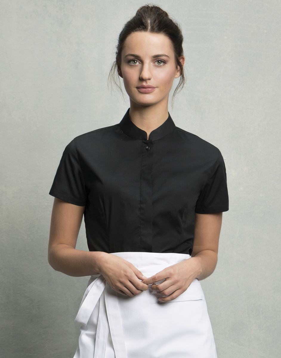 Ladies' Short Sleeved Mandarin Collar Bar Shirt